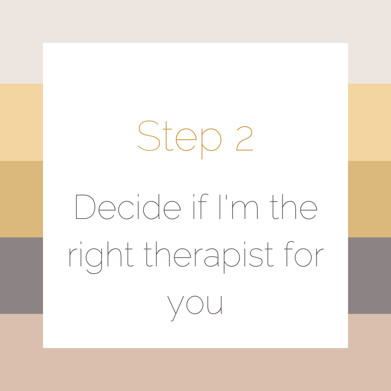 Decide if I'm the right therapist for you